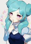 1girl aqua_hair beta_(inazuma_eleven) blush finger_to_mouth hand_on_hip inazuma_eleven_(series) inazuma_eleven_go inazuma_eleven_go_chrono_stone long_hair pink_eyes protocol_omega solo twintails upper_body yan'yo_(yan'yan'yo)