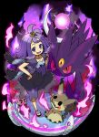 1girl :3 acerola_(pokemon) character_doll dress elite_four flipped_hair gengar hair_ornament highres kingin kuchinashi_(pokemon) mega_gengar mega_pokemon mimikyu open_mouth pokemon pokemon_(creature) pokemon_(game) pokemon_sm purple_hair short_hair smile stitches topknot trial_captain violet_eyes