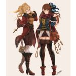 2girls ;d ankle_boots arm_at_side arm_behind_back asymmetrical_bangs bag bangs beatrix_(granblue_fantasy) belt bespectacled blonde_hair blue-framed_eyewear blue_eyes blue_jacket blue_ribbon boots bow braid breasts brown_boots brown_eyes brown_hair brown_legwear brown_shorts brown_skirt buttons closed_mouth coat cross frilled_sleeves frills glasses granblue_fantasy grey_background hair_bow hair_ribbon handbag holding_bag jacket knee_boots long_hair long_sleeves looking_at_viewer medium_breasts multiple_girls one_eye_closed open_clothes open_jacket open_mouth pantyhose red_boots red_scarf ribbon scarf semi-rimless_glasses shorts signature simple_background skirt sleeve_cuffs smile sweater thigh-highs turtleneck turtleneck_sweater twintails under-rim_glasses white_legwear yatsuka_(846) zeta_(granblue_fantasy)