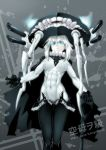 abs blue_eyes bodysuit cane cape character_name collar commentary covered_navel ebr-kii gloves gluteal_fold kantai_collection looking_at_viewer muscle muscular_female shinkaisei-kan tentacle toned translated white_hair white_skin wo-class_aircraft_carrier