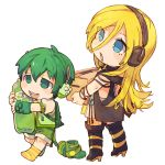 1boy 1girl 8'108 backpack bag black_boots blonde_hair blue_eyes boots boots_removed box buck_teeth carrying chibi eyes_visible_through_hair full_body green_boots green_eyes green_hair green_shorts half-closed_eyes headphones lily_(vocaloid) long_hair open_mouth ryuuto_(vocaloid) shorts simple_background smile socks soda striped striped_legwear vest vocaloid walking white_background