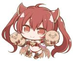 1girl ahoge angeltype animal_ears armor armored_boots bangs bare_shoulders bikini bikini_armor blush_stickers boots bow bowtie breasts brooch cerberus_(shingeki_no_bahamut) chibi cleavage closed_mouth demon_tail detached_collar dog_ears elbow_gloves eyebrows_visible_through_hair full_body gloves hair_between_eyes hand_puppet hand_up jewelry long_hair looking_at_viewer navel o_o outstretched_arm pink_bow puppet red_armor red_bikini red_bow red_bowtie red_eyes red_gloves redhead shingeki_no_bahamut shiny shiny_hair simple_background smile solo swimsuit tail thigh-highs thigh_boots twintails white_background