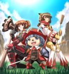 3girls :3 animal_ears armor bare_shoulders blue_eyes blue_hair blue_sky brown_eyes brown_hair clouds crop_top final_fantasy final_fantasy_xi fox_ears gloves grass grey_gloves hair_tubes hat highres hume iwako knee_pads knees_together_feet_apart midriff mithra mountain multiple_girls navel one_knee open_mouth shin_guards sky smile sword tail tarutaru vambraces weapon yellow_gloves