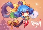 1girl alternate_color asymmetrical_wings birthday blue_hair bow box chibi christmas christmas_tree commentary cubehero dizzy gift gift_box guilty_gear hair_bow heart holding holding_gift long_hair red_eyes solo tail tail_bow thigh-highs wings