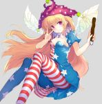1girl abusoru american_flag_dress american_flag_legwear blonde_hair breasts cleavage clownpiece dress fairy_wings hat highres jester_cap long_hair looking_at_viewer medium_breasts neck_ruff pantyhose polka_dot short_dress sitting solo star star_print striped torch touhou v very_long_hair violet_eyes wings