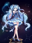 1girl constellation detached_sleeves dress fingerless_gloves full_body gloves hatsune_miku highres long_hair looking_at_viewer munape outstretched_arm smile solo star twintails very_long_hair vocaloid wand yuki_miku
