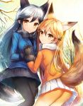 2girls :o animal_ears ass backlighting bare_tree black_bow black_bowtie black_gloves black_hair black_legwear black_skirt blonde_hair blue_jacket blush bow bowtie breath brown_eyes brown_hair buttons closed_mouth cowboy_shot day elbow_gloves extra_ears eyelashes ezo_red_fox_(kemono_friends) fox_ears fox_tail fur-trimmed_sleeves fur_trim gloves gradient_hair hand_holding highres interlocked_fingers jacket kemono_friends long_hair long_sleeves looking_at_viewer miniskirt multicolored multicolored_clothes multicolored_hair multicolored_legwear multiple_girls open_mouth orange_jacket pantyhose pleated_skirt sakura_ani silver_fox_(kemono_friends) skirt smile snow sparkle standing sunlight tail tareme tree upskirt very_long_hair white_bow white_bowtie white_skirt winter