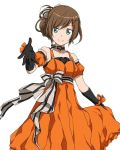 1girl black_gloves blue_eyes bow brown_hair character_request choker collarbone cowboy_shot dress earrings elbow_gloves gloves hair_bow hair_ornament jewelry looking_at_viewer orange_dress orange_ribbon ribbon ribbon_choker short_hair simple_background skirt_hold sleeveless sleeveless_dress smile solo standing striped striped_bow striped_ribbon sword_art_online white_background wrist_ribbon