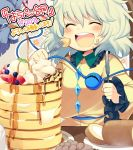 1girl blueberry blush cake closed_eyes coffee coffee_mug eating eyebrows_visible_through_hair food food_on_face fork fruit green_hair happy ice_cream iroyopon knife komeiji_koishi looking_at_viewer open_mouth pancake short_hair smile solo strawberry swiss_roll syrup text third_eye touhou translation_request whipped_cream