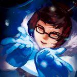 1girl brown_eyes brown_hair coat fur_coat glasses gloves hairpin happy mei_(overwatch) mei_ling-zhou overwatch parka short_hair smile