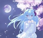 1girl cherry_blossoms dress floating_hair flower full_moon hair_between_eyes hanyuu higurashi_no_naku_koro_ni holding horns long_hair moon moonlight night pale_skin parted_lips purple rabi-chan solo tears violet_eyes white_dress white_hair wind