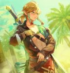 1boy arrow azutarou bare_chest blonde_hair blue_eyes blue_sky blush bow_(weapon) coat coconut_tree collarbone crossbow day gloves link navel outdoors palm_tree pointy_ears ponytail sky solo stomach sweat sword the_legend_of_zelda the_legend_of_zelda:_breath_of_the_wild tree undressing weapon