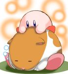 =_= blue_eyes closed_eyes full_body fur hamster hamster_ears kirby kirby_(series) kous_(onetwojustice) lying no_humans on_stomach rick_(kirby) riding sleeping snout |_|