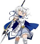 1girl arm_up armor armored_boots blue_ribbon boots breastplate character_request detached_sleeves floating_hair grey_skirt hair_between_eyes hair_ribbon holding holding_weapon long_hair polearm ribbon silver_hair simple_background skirt solo standing sword_art_online weapon white_background yellow_eyes