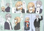 1boy 1girl blazer blonde_hair book brown_eyes eye_contact glasses grey_eyes grey_hair highres hood hoodie jacket kazenoko looking_at_another multiple_views open_blazer open_clothes open_jacket original red_scarf scarf school_uniform sketch speech_bubble train_interior translation_request