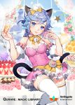 1girl alcohol animal_ears apron arms_up bangs bare_shoulders bell blue_eyes blue_hair blue_sky blush bow braid breasts cake cake_stand cat_ears cat_girl cat_tail champagne champagne_flute checkerboard_cookie cleavage closed_mouth clouds cloudy_sky collar company_name cookie copyright_name covered_navel cup cupcake day detached_sleeves dress drinking_glass flower food food_on_face frilled_apron frilled_dress frilled_sleeves frills fruit gearous glint holding holding_food horizontal-striped_legwear hydrangea jingle_bell lace leg_up light_bulb long_hair looking_at_viewer macaron maid_headdress medium_breasts official_art orange orange_slice paw_print pink_collar pink_dress pink_flower pink_rose purple_flower qurare_magic_library raised_eyebrows rose see-through shiny shiny_skin single_braid sky slice_of_cake smile solo sprinkles standing standing_on_one_leg star strawberry strawberry_shortcake striped striped_legwear swept_bangs swiss_roll tail text thigh-highs tiered_tray tongue tongue_out waist_apron white_apron white_legwear window yellow_bow