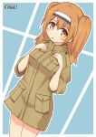 1girl :o alternate_costume artist_name hairband hand_on_own_chest highres i-26_(kantai_collection) kantai_collection light_brown_eyes light_brown_hair long_hair looking_at_viewer pepatiku pocket simple_background solo trench_coat two-tone_hairband two_side_up