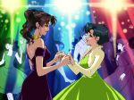 2girls bare_shoulders bishoujo_senshi_sailor_moon blue_eyes blue_hair blush brown_hair dancing derivative_work dress eflunn_(emilylunn) green_eyes jewelry kino_makoto mizuno_ami multiple_girls yuri
