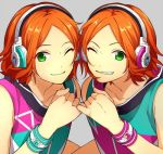 2boys ;) aoi_hinata aoi_yuuta bracelet brothers center_part ensemble_stars! green_eyes grin headphones jewelry looking_at_viewer lowres male_focus multiple_boys one_eye_closed orange_hair siblings sleeveless smile twins upper_body wand3754 wristband