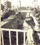1girl absurdres black_hair bridge building canal city cityscape highres long_sleeves monochrome original plant scenery shirt short_hair solo tokunaga_akimasa traditional_media white_shirt wing_collar