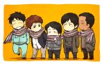 5boys arino_shin'ya beard black_hair chibi coat covered_mouth facial_hair full_body gamecenter_cx inoue_yuuya kita_(nana0015) lineup looking_at_another male_focus multiple_boys no_mouth orange_background sasano_hiroshi scarf shared_scarf short_hair simple_background toujima_shinichirou uniform urakawa_shun