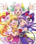 3girls :d ;) absurdres arms_up asahina_mirai black_gloves blonde_hair bow collarbone cure_felice cure_magical cure_miracle earrings elbow_gloves floating_hair flower gloves grey_eyes ha-chan_(mahou_girls_precure!) hair_bow hair_flower hair_ornament hairband hanami_kotoha hand_holding hat highres holding interlocked_fingers izayoi_liko jewelry long_hair looking_up magical_girl mahou_girls_precure! mofurun_(mahou_girls_precure!) multiple_girls one_eye_closed open_mouth pink_hair pink_hairband precure pretty_cure purple_hair purple_hat red_bow ring see-through shiny shiny_skin short_sleeves simple_background sleeveless smile white_background white_flower white_gloves