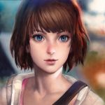 1girl blue_eyes brown_hair colored_pencil_(medium) highres laovaan life_is_strange lips max_caulfield nose parted_lips photo portrait short_hair solo strap sweater traditional_media watercolor_(medium)