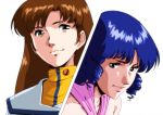 black_hair blue_eyes brown_hair choujikuu_yousai_macross dress hayase_misa langerhans_2016 lynn_minmay macross uniform