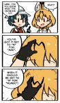 2girls 3koma ange animal_ears bag black_gloves blush_stickers comic english gloves hat kaban_(kemono_friends) kemono_friends multiple_girls parody serval_(kemono_friends) serval_ears serval_print speech_bubble spongebob_squarepants text