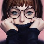 1girl arms_up black-framed_eyewear black_shirt blue_eyes brown_hair commentary covered_mouth eyebrows eyelashes face glasses ilya_kuvshinov_(style) laovaan long_sleeves looking_at_viewer makeup making_of nose original parody photo photo_reference portrait round_glasses shirt short_hair solo style_parody traditional_media turtleneck watercolor_(medium)