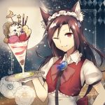 1girl :3 ;) alternate_costume animal_ears argyle banana bow brooch brown_hair chocolate_syrup collar collared_shirt crescent_moon enmaided flower food frilled_collar frills fruit hand_up holding holding_tray ice_cream imaizumi_kagerou jewelry kaio_(watagami) long_hair looking_at_viewer maid maid_headdress moon night night_sky one_eye_closed puffy_short_sleeves puffy_sleeves red_eyes serving shirt short_sleeves sky smile solo sprinkles star star_(sky) starry_sky strawberry sundae touhou tray upper_body vest wing_collar wolf_ears