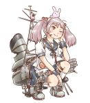 1girl animal animal_on_head badge bunny_on_head cannon frilled_skirt frills hair_bobbles hair_ornament kantai_collection karasu_(naoshow357) kneehighs long_hair machinery mast on_head one_eye_closed pink_eyes pink_hair puffy_short_sleeves puffy_sleeves rabbit remodel_(kantai_collection) sazanami_(kantai_collection) school_uniform serafuku short_sleeves simple_background skirt smokestack squatting torn_clothes turret twintails white_background white_legwear