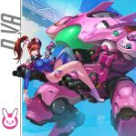 >:3 1girl :3 absurdres acronym adapted_costume alternate_hairstyle arm_at_side arm_cannon artist_request bangs black_hairband blue_leotard bodysuit breasts brown_eyes brown_hair bunny_earrings bunny_hair_ornament ch_(yan22947) character_name clothes_writing d.va_(overwatch) earrings emblem erect_nipples eyebrows_visible_through_hair facepaint facial_mark finger_on_trigger full_body gatling_gun gloves gun hair_ornament hairband hand_up handgun headphones high_collar high_heels highleg highleg_leotard highres holding holding_gun holding_weapon jewelry knee_pads knee_up large_breasts leotard lips long_hair long_legs looking_at_viewer lying mecha medium_breasts meka_(overwatch) nose on_back overwatch partly_fingerless_gloves pauldrons pilot_suit pink_lips pinky_out pistol ribbed_bodysuit shoes shoulder_pads single_shoe single_thigh_boot skin_tight smile solo teeth thigh_strap turtleneck twintails upper_teeth weapon whisker_markings white_gloves white_shoes zipper