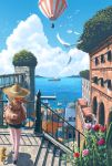 1girl backpack bag balloon bird building cat cityscape clouds day doora_(dora0913) flower from_behind green_shorts hat highres hot_air_balloon island ocean orange_hair outdoors pink_rose pixiv_fantasia pixiv_fantasia_new_world railing red_rose revision rose scenery short_sleeves shorts silhouette skirt sky solo_focus straw_hat upper_body water wind