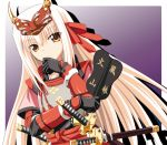 blonde_hair fan gauntlets gloves gucchi hair_ribbon horns katana kote long_hair mask orange_eyes ribbon samurai samurai_armor sengoku_hime sheath smile solo sword takeda_shingen takeda_shingen_(sengoku_hime) very_long_hair war_fan weapon white_hair