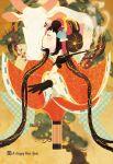 black_hair highres kiseru new_year original ox pipe sakamoto_himemi