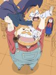 1boy 2girls arai_hiroki arm_hair beard black_hair closed_eyes facial_hair family father_and_daughter freckles glasses hat headband highres lifting_person little_witch_academia long_hair lotte_yanson mother_and_daughter multiple_girls mustache open_mouth orange_hair overalls parent_and_child pipe robe round_glasses shirt short_hair skirt witch witch_hat