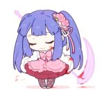 1girl blood blood_on_face blue_hair chibi closed_eyes dress flower furudo_erika hair_flower hair_ornament lowres musical_note rose scythe smile umineko_no_naku_koro_ni yang38