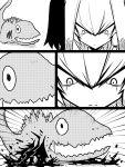 1girl blood character_request comic godzilla_(series) jin_(mugenjin) kemono_friends monochrome monster_in_kamata shin_godzilla shoebill_(kemono_friends) staring