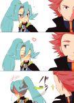 1boy 1girl 3koma blue_hair comic dress embarrassed ibuki_(pokemon) long_hair pokemon pokemon_(game) pokemon_hgss redhead short_hair sleeveless sleeveless_dress smile wataru_(pokemon) white_background
