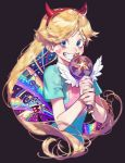 1girl black_background blonde_hair blue_eyes character_name dress eyelashes eyes_visible_through_hair grin hairband hat heart_cheeks horned_headwear korean long_hair pigeon666 rainbow simple_background smile solo star star_butterfly star_vs_the_forces_of_evil teeth top_hat upper_body wand