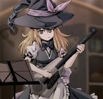 1girl :q apron bangs black_bow black_bowtie black_dress black_eyes blonde_hair blurry bow bowtie breasts cowboy_shot depth_of_field dress electric_guitar guitar hat hat_ribbon instrument kamishima_kanon kirisame_marisa long_hair medium_breasts music playing_instrument plectrum puffy_short_sleeves puffy_sleeves purple_ribbon ribbon short_sleeves solo tongue tongue_out touhou waist_apron witch_hat