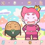 1boy 1girl adventure_time bow bowtie butterscotch_butler candy chibi closed_eyes coattails cookie crown eyelashes food genderswap genderswap_(ftm) genderswap_(mtf) gingerbread_man hands_on_hips juliet_sleeves kamijou_shoutarou lollipop long_sleeves macaron pink_hair prince_bubba_gumball puffy_sleeves short_hair smile