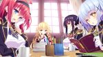 +_+ 4girls ahoge aqua_eyes arm_support arm_up bangs black_blazer black_hair black_hairband black_ribbon blazer blonde_hair blue_eyes blush book book_stack bow breasts brooch chains chestnut_mouth closed_mouth coffee_mug collared_shirt company_name copyright cravat cropped_jacket cross_print curtains day dot_nose dress_shirt dutch_angle english epaulettes eufonie eyebrows_visible_through_hair eyelashes eyes_visible_through_hair from_side frown game_cg gloves gold_chain gold_trim hair_between_eyes hair_bow hair_ornament hair_over_shoulder hair_ribbon hairband half-closed_eyes hand_on_own_cheek hanidebi!_honey_&_devil head_rest holding holding_book indoors jacket jewelry kikumon kougousaki_ruri large_breasts light_blue_hair light_particles long_hair long_sleeves looking_at_viewer looking_down looking_to_the_side multiple_girls nape nishinozono_kaoruko one_side_up open_mouth own_hands_together paper parted_lips pen pen_holder red_eyes red_ribbon redhead reflection ribbon ringlets ruler sakura_misaki_(sakura_densetsu) school_uniform see-through shiny shiny_hair shirt short_hair sidelocks sitting sleeves_folded_up small_breasts striped_hairband sunlight table takamiya_ouka tassel taut_clothes taut_shirt text toudou_aoi two_side_up very_long_hair watermark white_bow white_gloves white_shirt window wing_collar x_hair_ornament yellow_eyes