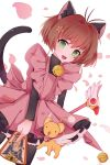 1girl :d absurdres aka_aka animal_ears bell bell_collar black_dress black_legwear brown_hair card card_captor_sakura cat_ears cat_tail collar dress fuuin_no_tsue green_eyes highres kero kinomoto_sakura looking_at_viewer open_mouth pantyhose pink_dress playing_card short_hair smile staff symbol-shaped_pupils tail