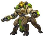 absurdres arm_cannon clenched_hand full_body highres horns no_humans official_art omnic orisa_(overwatch) overwatch robot solo transparent_background weapon yellow_eyes