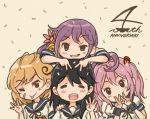 4girls :p akebono_(kantai_collection) anniversary bandaid bandaid_on_face beige_background bell black_hair closed_eyes comic commentary_request crab double_v flower grin hair_bell hair_bobbles hair_flower hair_ornament hand_on_another's_shoulder hand_up hands_on_another's_head jingle_bell kantai_collection light_brown_hair long_hair looking_at_viewer multiple_girls neck_ribbon oboro_(kantai_collection) one_eye_closed open_mouth otoufu pink_hair purple_hair rabbit ribbon sazanami_(kantai_collection) school_uniform serafuku short_hair short_sleeves side_ponytail sidelocks smile tongue tongue_out twintails ushio_(kantai_collection) v very_long_hair violet_eyes wristband
