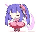 1girl blue_hair bow chibi closed_eyes dress flower furudo_erika hair_flower hair_ornament lowres rose scythe smile twintails umineko_no_naku_koro_ni yang38