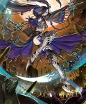 1girl armor armored_boots army artist_request black_hair blue_eyes boots castle chains character_request cygames detached_sleeves dual_wielding full_armor full_moon hair_over_one_eye hood hood_down long_hair midriff moon navel official_art red_moon scythe shadowverse shingeki_no_bahamut sword thigh-highs thigh_boots twintails weapon