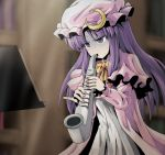 1girl bangs blurry bow bowtie capelet crescent depth_of_field dress hair_bow hat instrument kamishima_kanon long_hair long_sleeves mob_cap music pajamas parted_bangs patchouli_knowledge playing_instrument purple_hair red_bow ringed_eyes saxophone sidelocks solo sweat touhou turn_pale upper_body white_dress yellow_bow yellow_bowtie